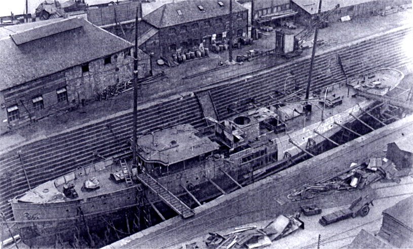 In dry-dock, during her lengthening